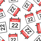 March 22 calendar page seamless pattern background. Business flat vector illustration. March 22 sign symbol pattern.