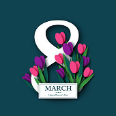 March 8 greeting card for International Womans Day. Paper cut tulips. Vector illustration.