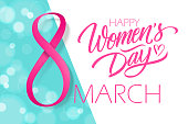 March 8, Happy Women's Day holiday banner with hand drawn lettering and pink ribbon. Vector illustration.