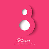March 8 symbol in paper cut style with shadows. International Women's day pink background. Vector illustration. Place for your text.