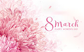 8 March flower vector greeting card  with lettering design