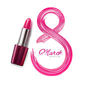 8 march international women day lipstick pomade number. Realistic vector illustration, holiday invitation card, celebration present decoration element. Pink elegant love symbol. Isolated illustration
