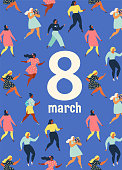 8 march, International Womens Day Feminism concept template design. Vector illusttation.