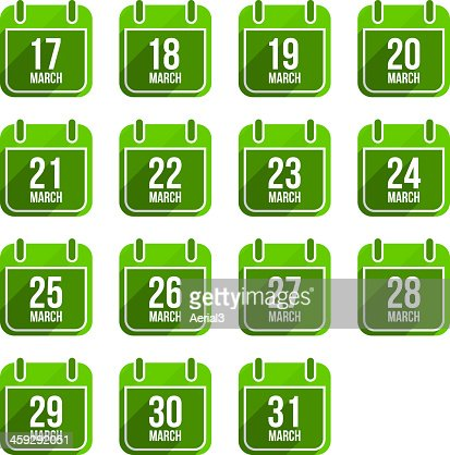March vector flat calendar icons. Days Of Year Set 12 : stock vector