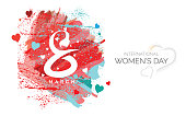 8 March, Women's Day Background Template Design