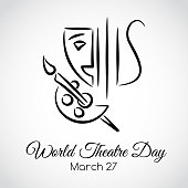 27 March. World theatre day. Vector greeting card