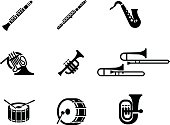 drum, isolated, stick, march, orchestra, beat, music, woodwind, sound, vector, trumpet, percussion, symbol, drumstick, bass, simple, horn, trombone, icon, illustration, snare, rhythm, band, entertainm