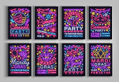 Mardi Gras, Carnival collection of posters design a template in a neon style. Set neon signs, brochure, invitation to a party card, bright advertising fat Tuesday. Flyer, banner. Vector illustration.