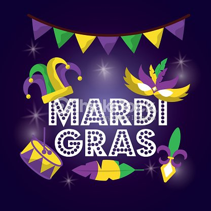 Mardi gras carnival mask hat drum with glitter texture invitation mardi gras carnival mask hat drum with glitter texture invitation arte vetorial stopboris Image collections