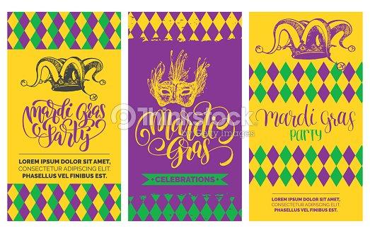 mardi gras flyers set vector hand lettering festive carnival