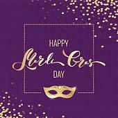 Mardi gras gold and purple card. Golden script and mask. Masquerade invitation design. Vector illustration
