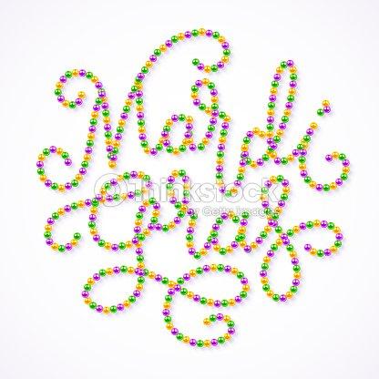 mardi gras lettering consist of gold green purple beads arte