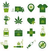 Marijuana, Cannabis icons. Set of medical marijuana icons. Marijuana leaf. Drug consumption. Marijuana Legalization. Isolated vector illustration.