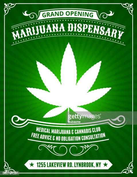 Marijuana Dispensary on Green Background
