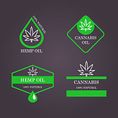 Marijuana leaf. Medical cannabis. Hemp oil. Cannabis shop. Icon product label and logo graphic template. Isolated vector illustration
