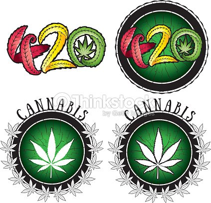 Marijuana Leaf Symbol And 420 Hemp Text Illustration Vector Art