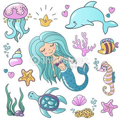 Coloriage Crabe Dauphin.Illustrations De Marin Ensemble Petite Sirene De Sirene Dessin Anime