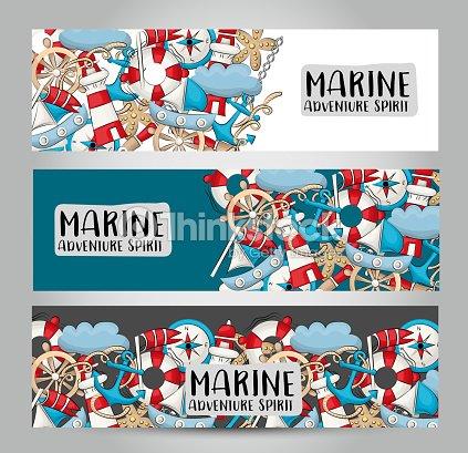 Marine Nautical Travel Concept Horizontal Banner Template Set Modern ...