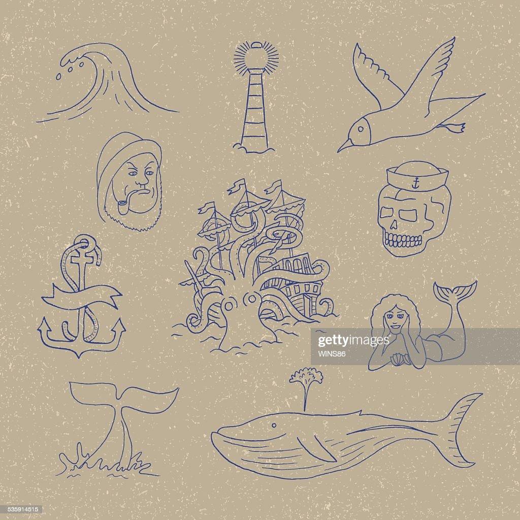 Marine themes & tattoo. Sailor. Ocean. Octopus. : Vector Art