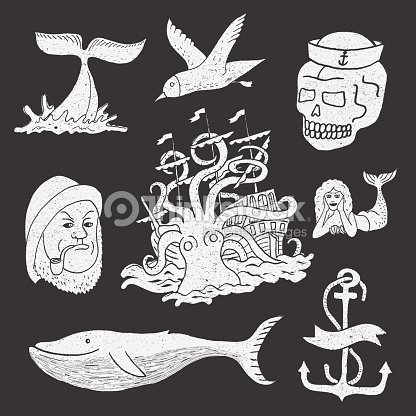 marine themes tattoo sailor ocean octopus whale skull anchor vector