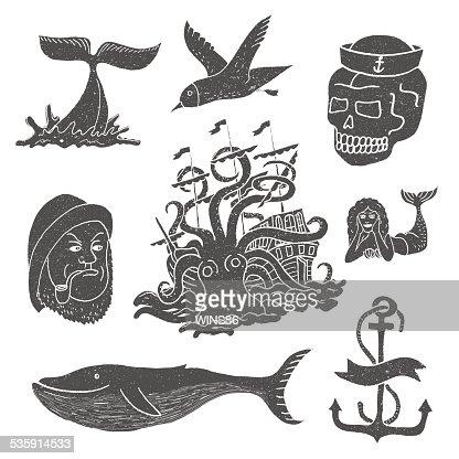 Marine temas & tatuagem. Marinheiro. Ocean. Polvo. Baleia. Crânio. Âncora. : Arte vetorial