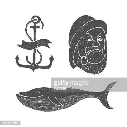 Marine themes & tattoo. Sailor. Ocean. Whale. Anchor. : Vector Art