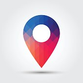 Marker icon, Map pointer icon, Colorful geometric style