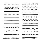 Marker strokes collection. Set of vector hand drawn brushes elements for your design works