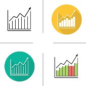Market growth chart flat design, linear and color icons set. Diagram. Business statistics graph