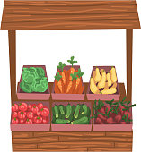 Market Wooden Counter with Fresh Ripe Vegetables, Street Shop Showcase Vector Illustration on White Background.