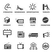 marketing and advertising icons, mono vector symbols