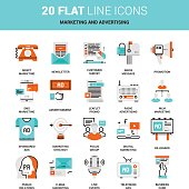 Vector set of marketing and advertising, business technology flat line web icons. Illustration graphic design concepts. Modern flat line icon style. Symbols for mobile and web graphics. Logo concepts