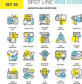 Vector set of marketing and advertising spot line web icons. Each icon with adjustable strokes neatly designed on pixel perfect 64X64 size grid. Fully editable and easy to use.