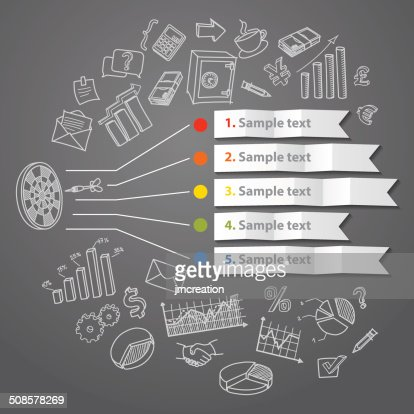 Marketing infographic concept and hand drawn business doodles : Vector Art