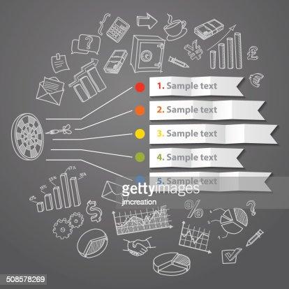 Marketing-Infografik Konzept und von hand gezeichnete Skizzen für : Vektorgrafik