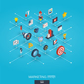 Market integrated 3d web icons. Digital network isometric interact concept. Connected graphic design dot and line system. Abstract background for seo optimization, web development. Vector Infograph