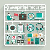 Vector flat design model kits for Marketing tools. Element for use to success creative thinking