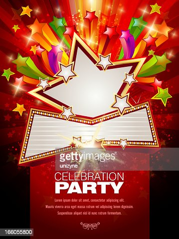 Marquee display banner bursting on a red background : Vector Art