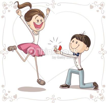Marriage proposal vector cartoon vector art thinkstock - 35 ans de mariage noces de quoi ...