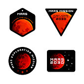 Mars mission emblems concept. Mars exploration logos in colored modern style. Mars colonization badges in modern sci-fi style, badges  labels for clothing and etc