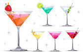 Set of martini cocktail glasses on white background. Margarita, Blue lagoon, Daiquiri, Cosmopolitan, Dry