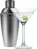 Photo-realistic vector illustration of a martini glass with a green olive and a steel cocktail shaker. Various transparency modes used, EPS 10.