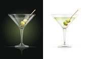 Martini glass. Cocktail. Alcoholic classic drink. Dry vermouth with green olive. EPS10 vector illustration.