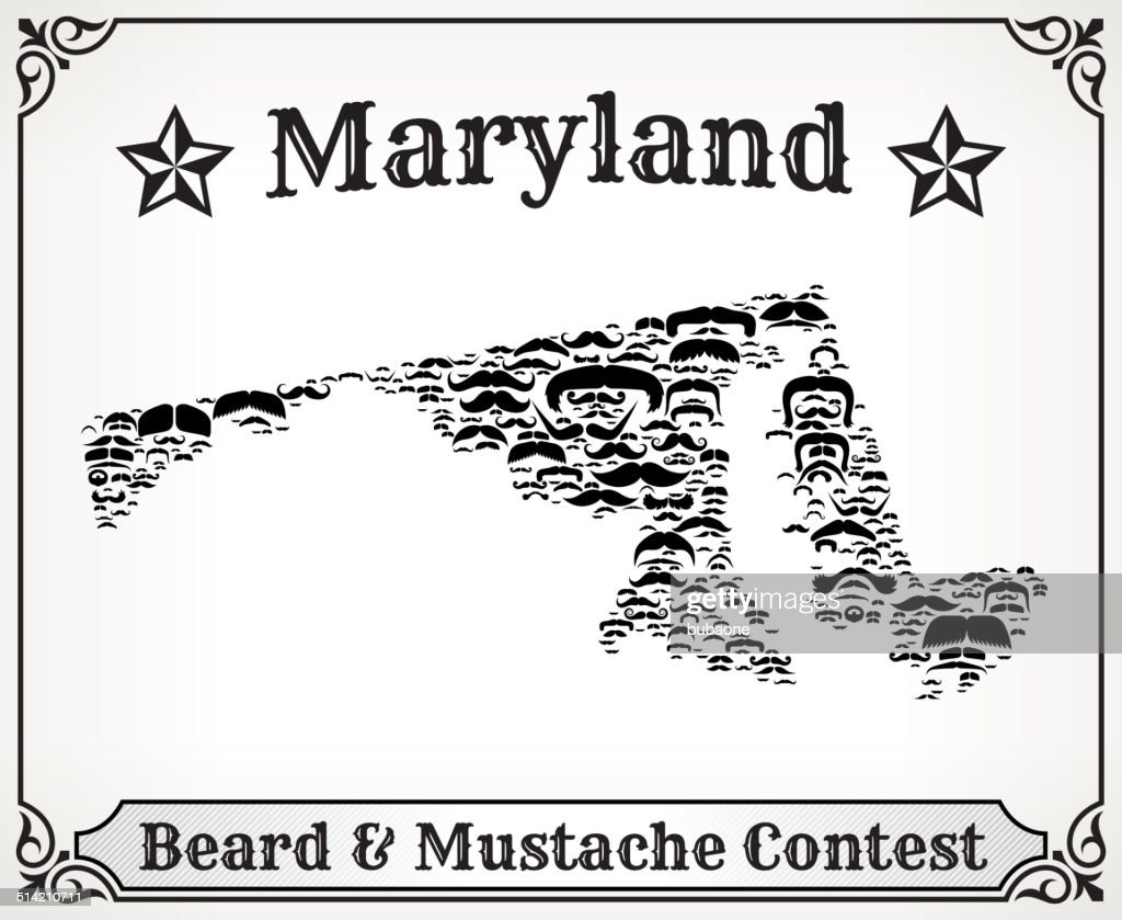 Maryland Map On Mustache Royalty Free Vector Art Pattern Vector