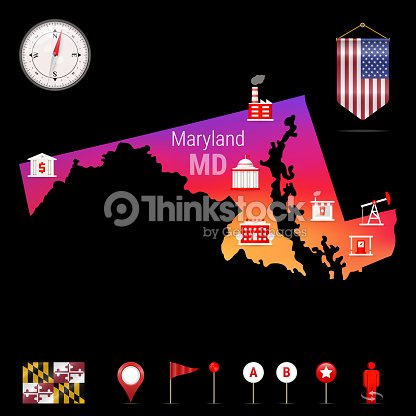 Maryland Vector Map Night View Compass Icon Map Navigation Elements