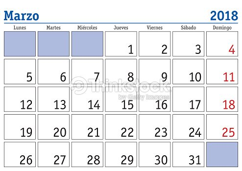 marzo 2018 wall calendar spanish vector art