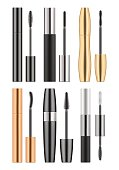 Set of 3d realistic blank template of black, golden and silver metallic tubes with mascara and different types of brush. Container of cosmetic product for eye beauty. Vector illustration on white.