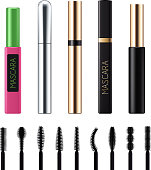 Mascara tubes with brushes set. Luxury cosmetic products vector 3D illustration. Good for ads design.