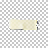 Masking or adhesive tape piece. Vector torn masking and adhesive tape part on transparent background.