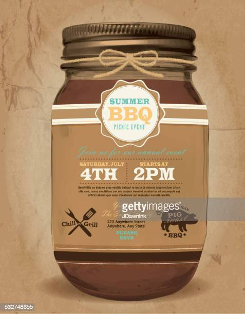Mason Jar BBQ picnic invitation design paper bag background